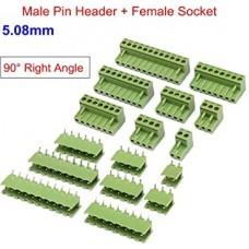 5.08mm 5 pin 90 Derece Erkek Dişi Takım Klamens Yeşil